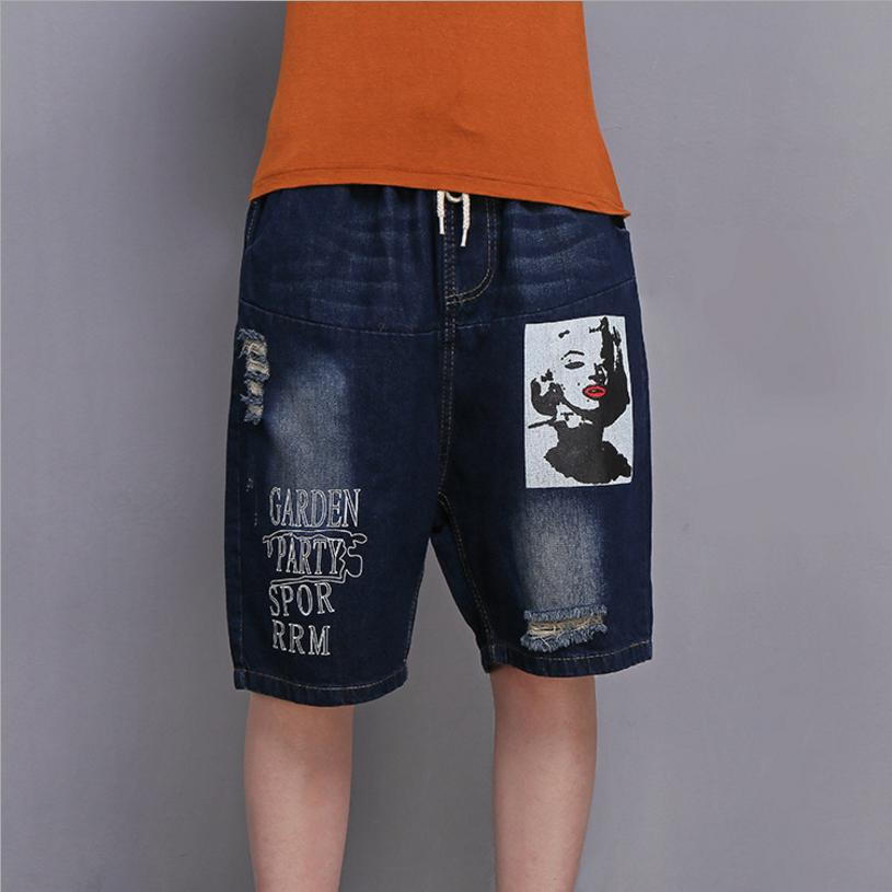 2XL-6XL Plus Size 2018 Summer Women Euorpean Fashion Ripped Hole printS Denim Shorts Female Letter Pattern Loose Jean pants L282