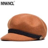 MNKNCL Wool Beret Female Winter Hat For Women Flat Cap Knit 100% Cashmere Hat Lady Girl Berets Hat Female Bone Tocas Painter Hat