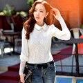 Original 2017 Brand Spring Lace Blouse White Plus Size Turn Down Collar Pearl Vintage Elegant Casual Shirt Women Wholesale