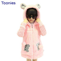 Baby Girls Warm Coat Cartoon Style Girls Fashion Outerwear Baby Girl Clothes Hooded Jacket 2016 Autumn