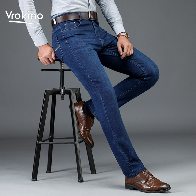 2019 Autumn And Winter New Style Men's Business Slim Jeans Fashion High Quality Stretch Pants Men's Black Blue Dark Blue