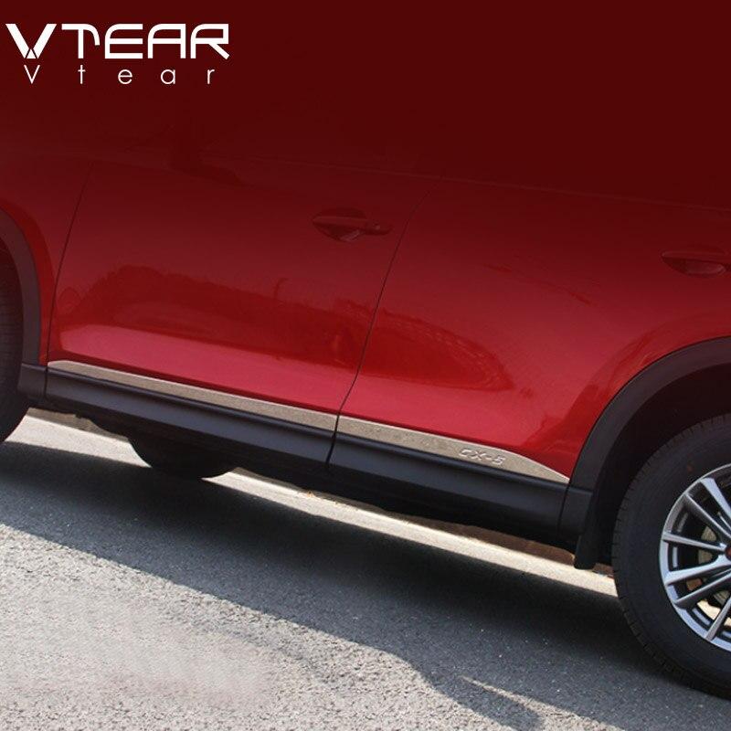 Vtear для Mazda CX-5 CX5 2017 2018 нержавеющая сталь корпус автомобильной двери сбоку Защитная панель прокладки наружных аксессуары Anti-руб Styling