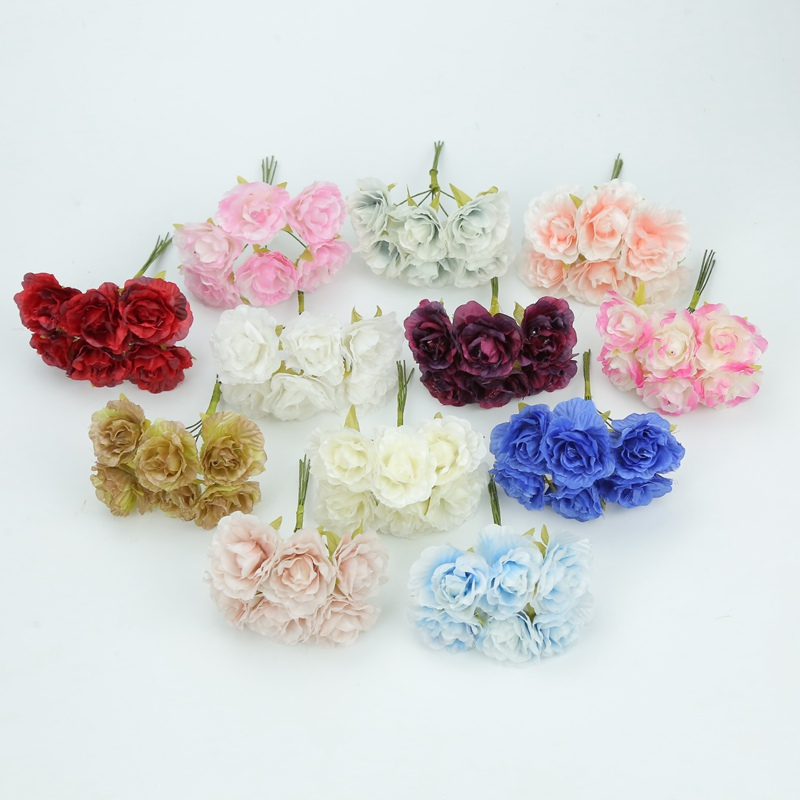 6pcs Decorative flowers wreaths home decor accessories silk roses diy needlework scrapbooking gifts candy box artificial plants