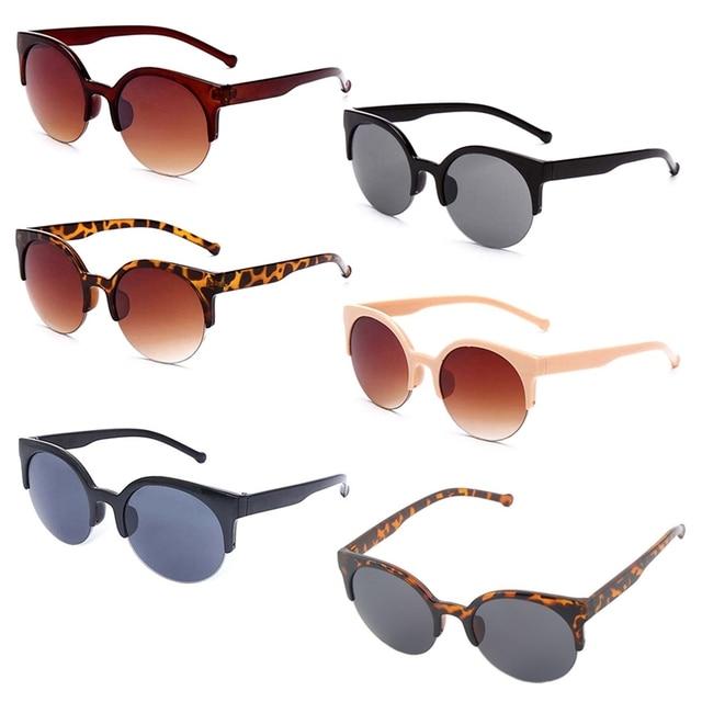 Moda Olho de Gato Óculos De Sol Mulheres Retro Vintage Meia Armação Dos Óculos Marca Designer Rodada Círculo Semi-Óculos sem aro 2019