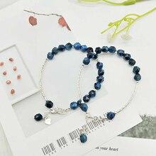 Ruifan Radiation Protection Natural Blue Stone Tigers Eye Bracelet Ladies 100% 925 Sterling Silver Woman Bracelets Gift YBR072