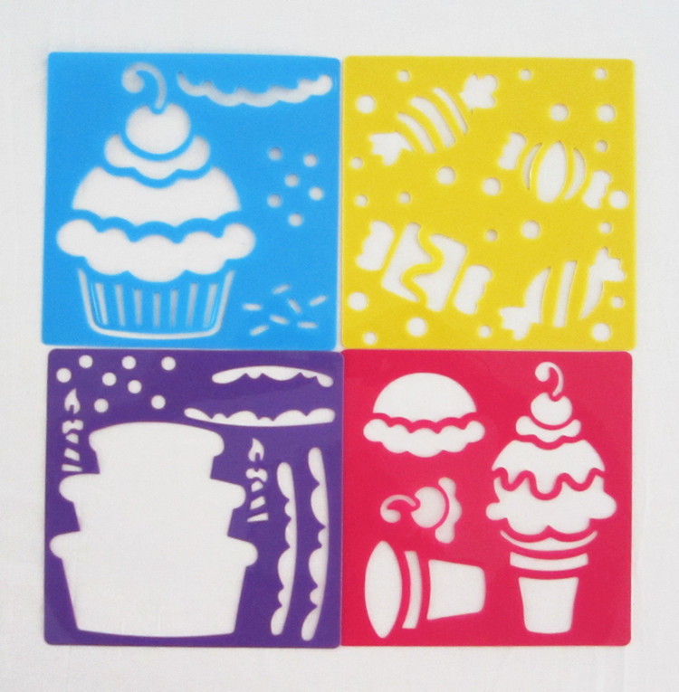 10pcslot icecream stencil cake stencilart stencil summer toybirthday giftchristmas giftkids toy 128x128x006cm in drawing toys from toys - Kids Painting Templates