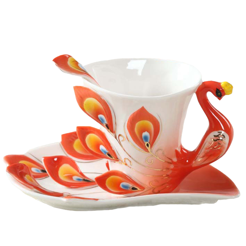 Enamel Peacock Coffee <font><b>Mug</b></font> Caneca <font><b>Cup</b></font> Set Ceramic Drinkware Creative China Bone Copos