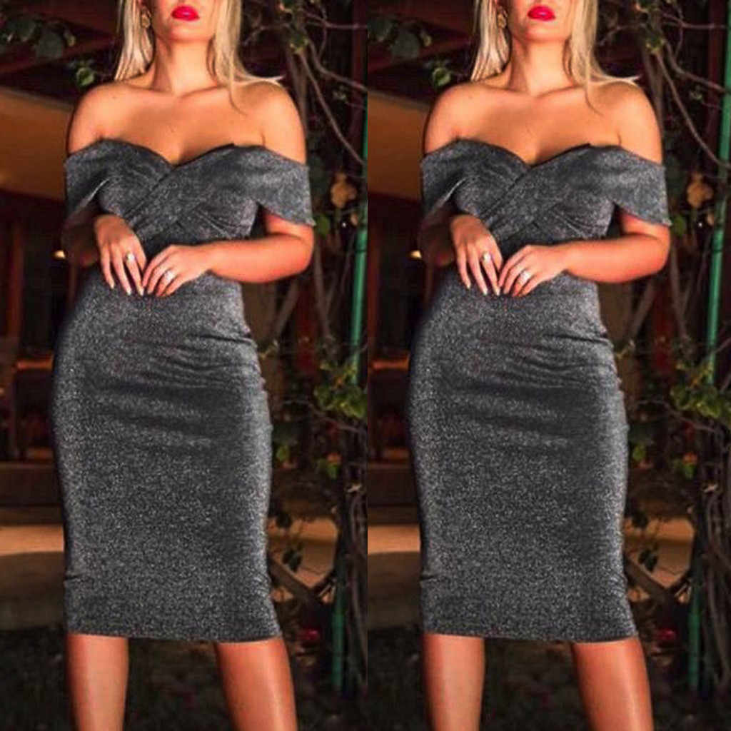 2019 New Spring Fashion Sexy Women Off The Shoulder Cross Strapless Bodycon  Slim Thin Cocktail Prom cce978626d5f