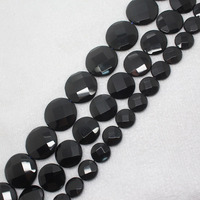 Mini Order Is 7 14 20 25mm Faceted Natural Onyx Black Agate Oblate Oval Wafer Loose