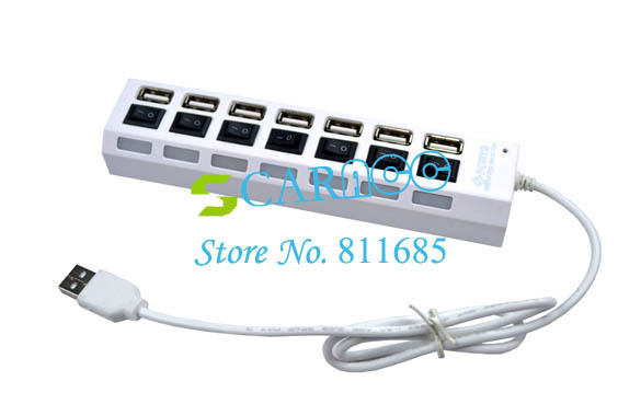 6PCS/LOT White 7 Port USB 2.0 High Speed USB HUB ON/OFF Sharing Switch For Laptop PC 1857