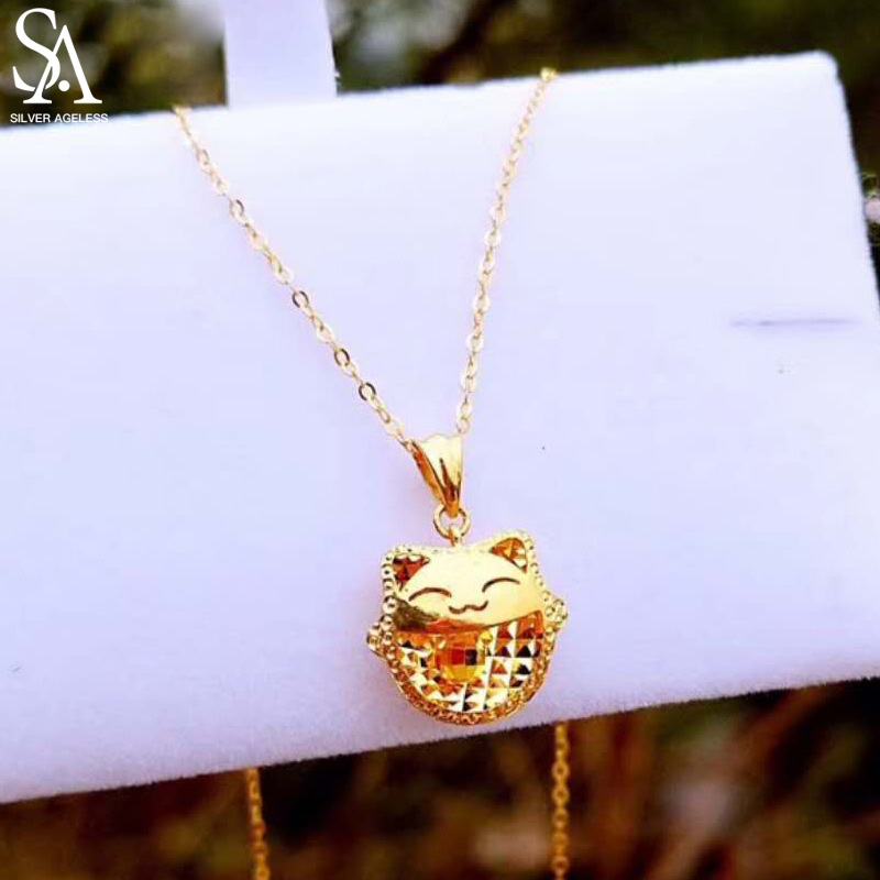 SILVER AGELESS 18K Yellow Gold Cat Pendant Necklaces Gold Jewelry Necklace Women Animal Yellow Gold Pendant Necklaces yoursfs charm jewelry windmill pendant necklaces austria crystal simulation diamond 18k white gold plated necklace neckless