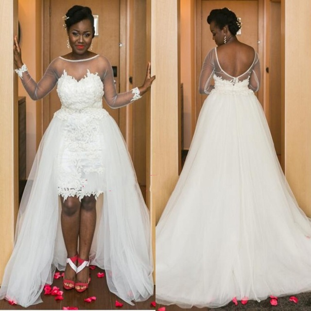 Suzhou Alibaba Cheap High Bridal Gown African Wedding Dress With Appliques Sheer Long Sleeves Detachable Skirt