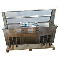 Thailand Double square pans roll Fried Ice Cream Maker/Making machine with display case (free shipping by sea)
