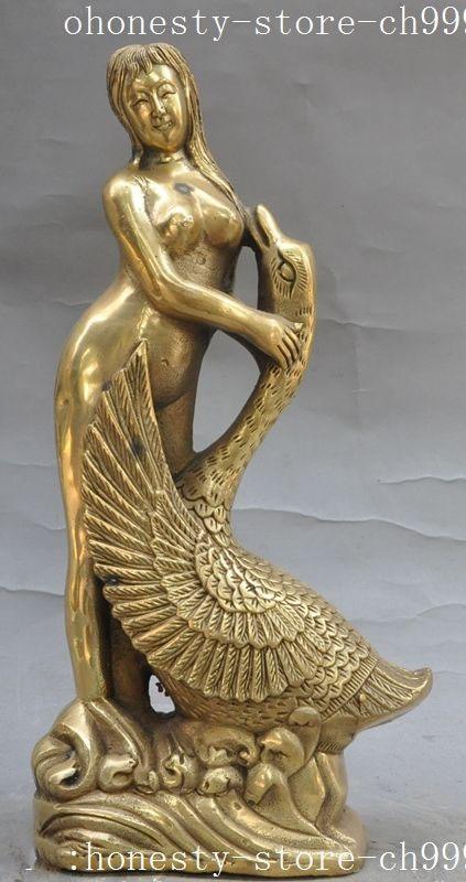 Crafts statue chinese brass copper fengshui Bird Crane belle Beauty Beautiful women Art statue  Halloween statue