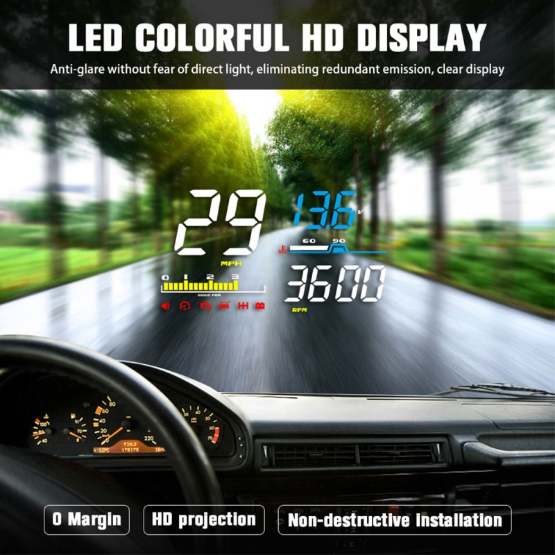 2019 D5000 Head Up Display Obd Film Smart Display Speedometer Temperature Car Electronics Speed Projector On The Windshield
