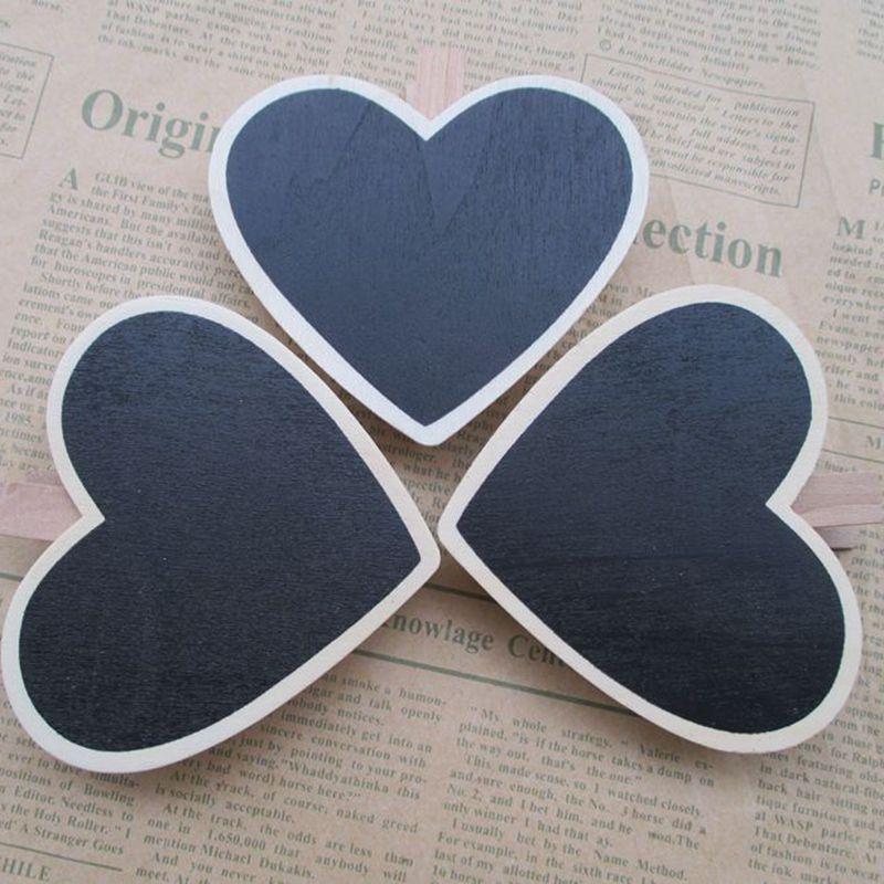 12pcs Natural wood mini chalk board 85 * 80 mm the board of directors of the rope wedding decoration Heart shape the blackboard