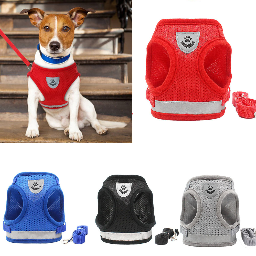 Dog Harness En Leash Set Voor Chihuahua Pug Kleine Medium Nylon Mesh Puppy Kat Harnassen Vest Reflecterende Wandelen Lead Leash