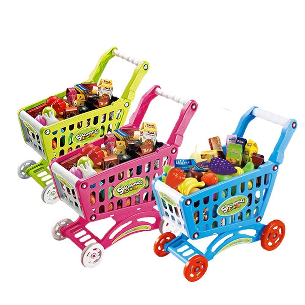 Kids Kitchen Toy 31cm Children Simulation Mini Shopping Cart with Full Grocery Food Toy For Pretend Play Set HW-0007-