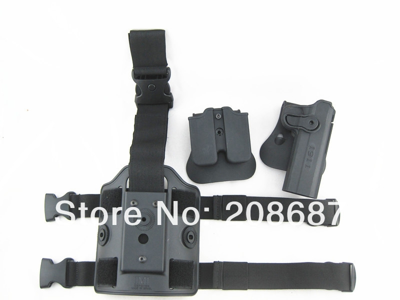 Tactical Drop Leg Holster for 1911 IMI Rotary Holster+magazine carrier+leg panel3