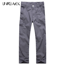 Uwback Summer Casual Pants Men Breathable Polyester Trousers Cotton 2017 Fashion Zipper Fly Male Pants Plus Size Gray DBA048