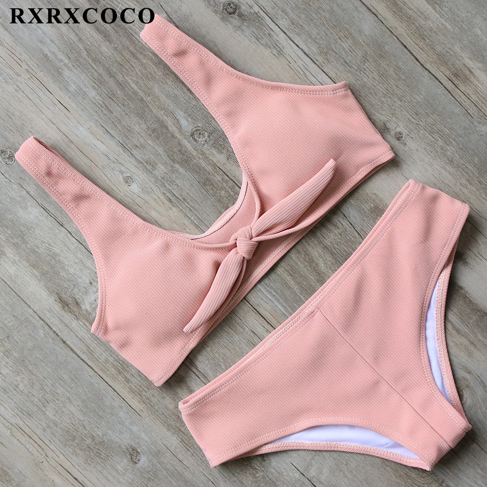 Buy RXRXCOCO Brand Bikini Set 2017 Solid Padded Bikini Sexy Push Swimwear Women Sport Swimsuit Summer Swimming Suit Beach Wear