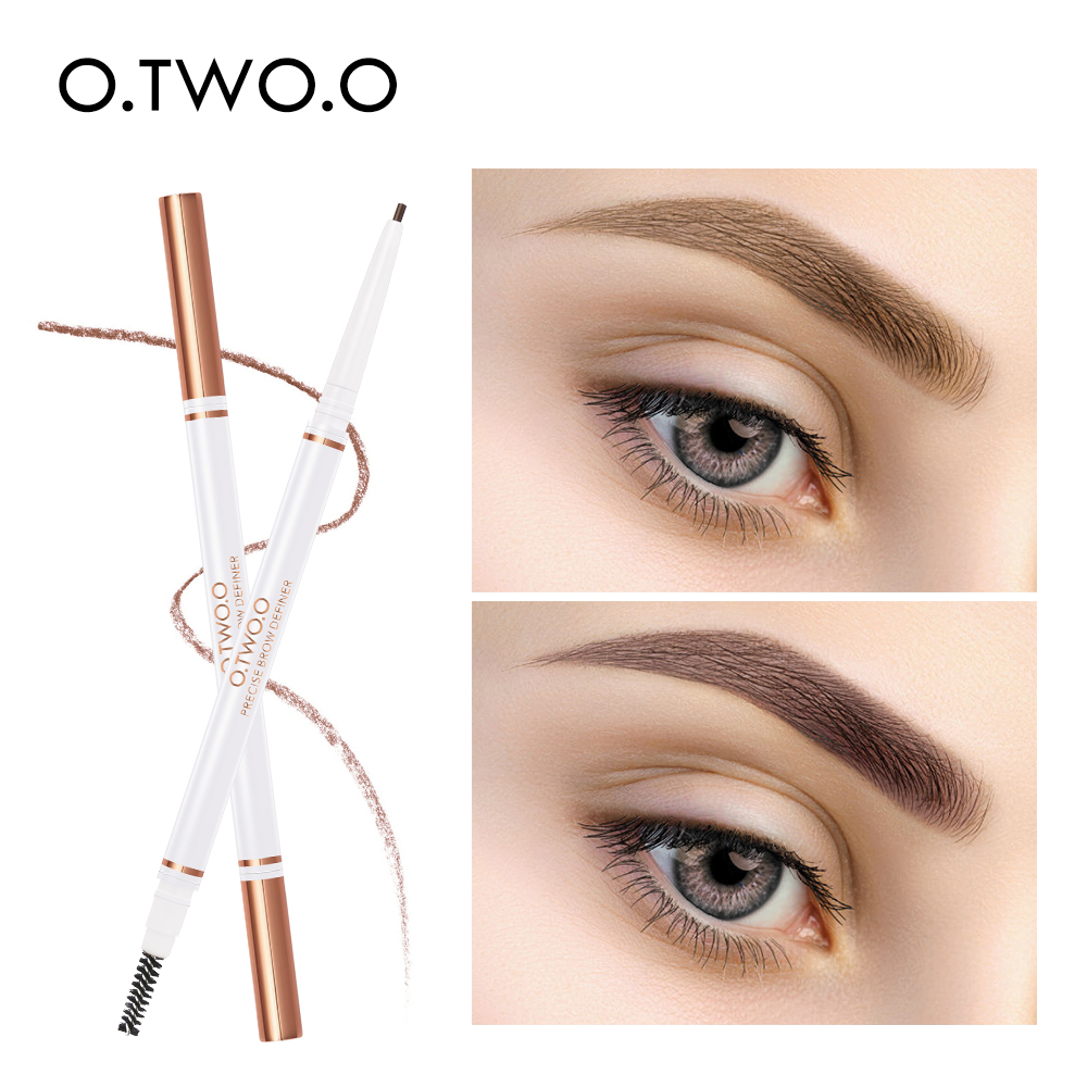 O.TWO.O <font><b>Eyebrow</b></font> Waterproof 5 Colors Double Ended <font><b>Eyebrow</b></font> Pencil Eye Brow <font><b>Tatoo</b></font> <font><b>Pen</b></font> Brown Cosmetic Beauty Makeup image