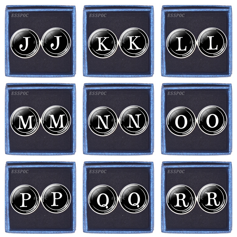 Men's Fashion 26 Letters Cufflinks Initial Letter Glass Dome Silver Pleated Cufflinks Personalized Gift for Men Box Packaging