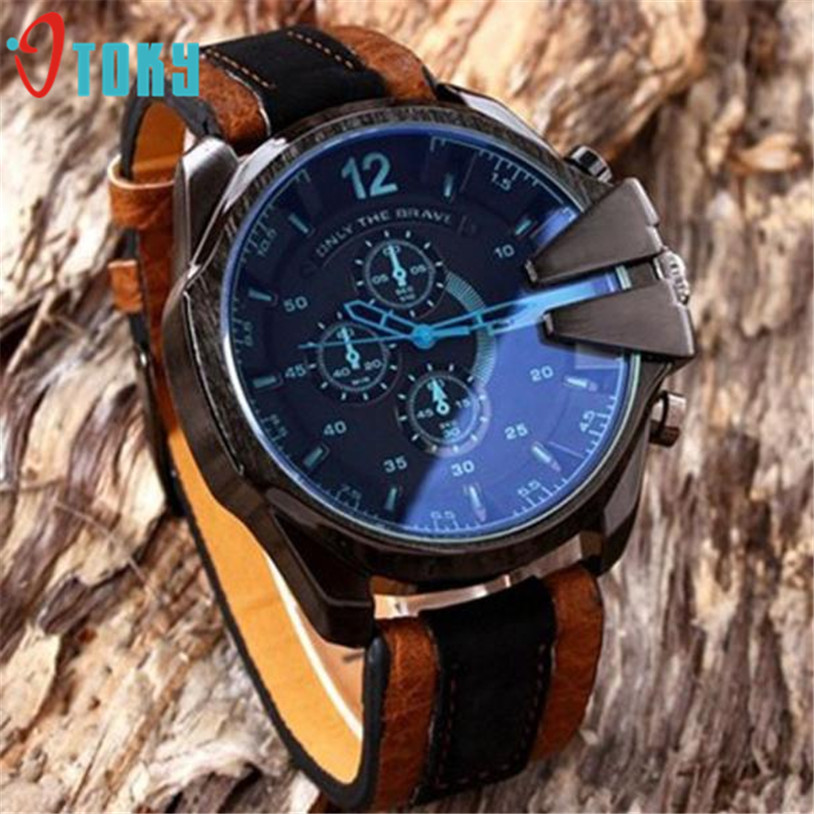Dropship OTOKY Hot Selling men's Watch  Men's Analog Sport Steel Case Quartz Dial Synthetic Leather Wrist Watch Gift May 25 carolina herrera chic men туалетная вода chic men туалетная вода