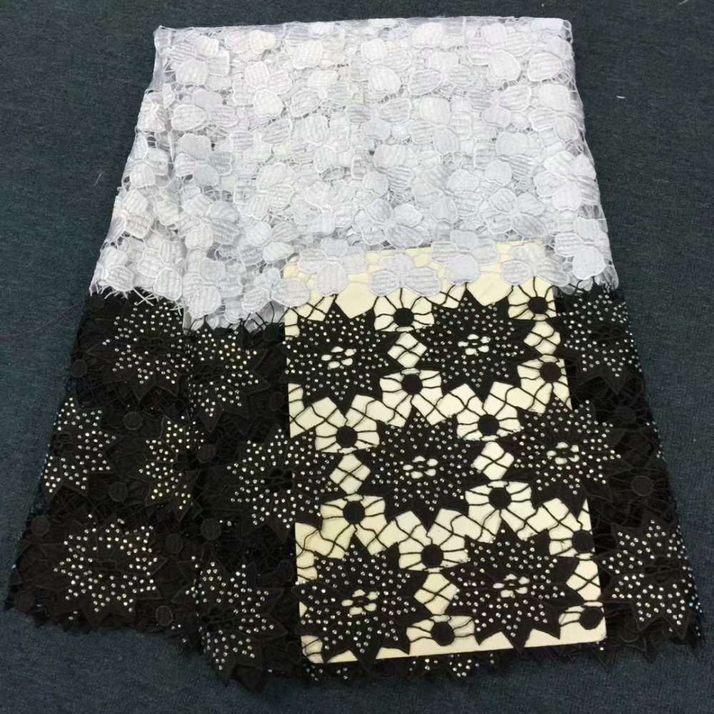 Wholesale African Lace Fabric 2018 black And White Guipure Lace Fabric High Quality Nigerian Cord Lace For WomenWholesale African Lace Fabric 2018 black And White Guipure Lace Fabric High Quality Nigerian Cord Lace For Women