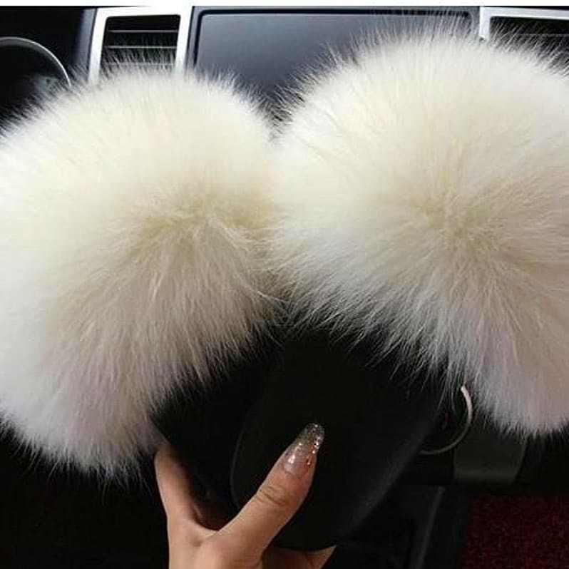 2019 100% echt Fox Pelz Rutschen Pelzigen Weibliche Hausschuhe Pelzigen Sommer Schuhe Frau Sandalen Flache Marke Luxus Plus Größe