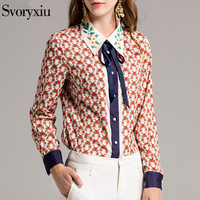 SVORYXIU Women Fashion Designer Blouses Long Sleeves Geometric Printed Big Size Loose Shirt Office Wear Casuai