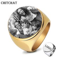 Customized Rings Engrave Name Photo Logo Ring Stainless Steel Round Mens Signet Rings For Family Wedding Personalized Gifts