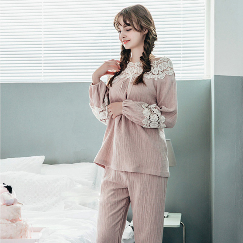 Linen Pyjama Femme Sexi Autumn Winter Nightwear Women Nightgown Pajamas Set  Nightie slach-neck Lace Nightie Sleepwear long Pants 1812a2199b