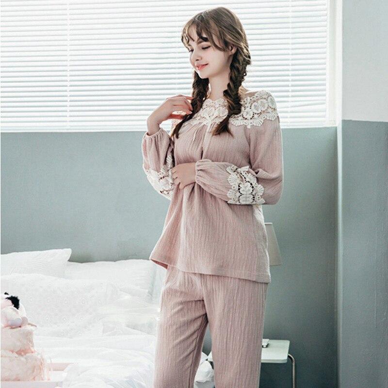 Linen Pyjama Femme Sexi Autumn Winter Nightwear Women Nightgown   Pajamas     Set   Nightie slach-neck Lace Nightie Sleepwear long Pants