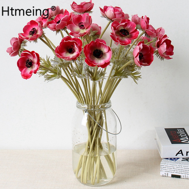 7pcs Artificial Anemones Flowers Real Touch Poppy Branches Burgundy