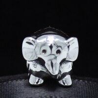 ROCKART Solid 925 Sterling Silver African Elephant Charm Bead Fits European Bangles Bracelets Cute Gift Wholesale