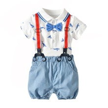 Infant Baby Boy Clothing Set 2019 Summer Shark Bow tie Romper+Suspender Stripe Shorts 2 Pieces Newborn Clothes Outfits