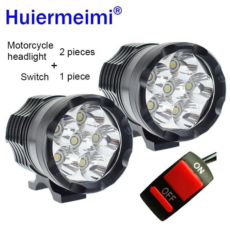 Huiermeimi 2PCS Motorcycle Headlight 12V 60W U2 LED Motorbike Driving Headlamp DRL Spotlight Moto Spot Head