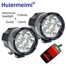 Huiermeimi 2PCS Motorcycle Headlight 12V 60W U2 LED Motorbike Driving Headlamp DRL Spotlight Moto Spot Head