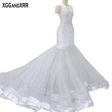 XGGandXRR Mermaid Wedding Dresses Cap Sleeves Sweep Train