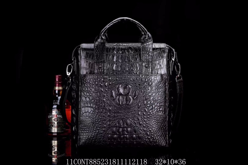 100% Genuine Real Crocodile Leather Head Skin Men Business Bag Young Men Leisure Luxury Quality Handbag Business Bag Long Strap