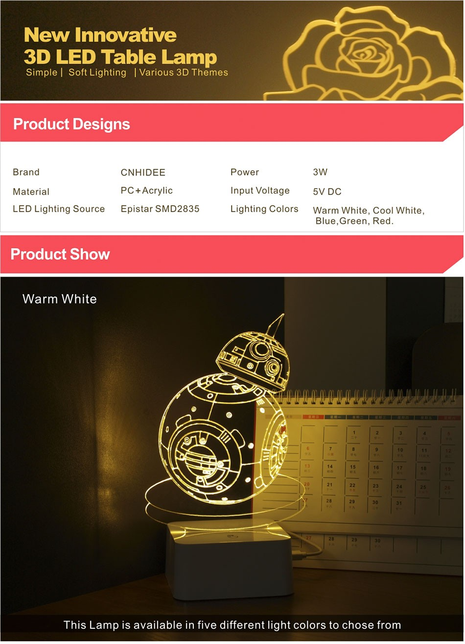 CNHIDEE USB Novelty 3D Visual Night Lights Star Wars Robort BB-8 Shaped Touch Table Desk Lamp Bubling Light as Creative Gifts (1)