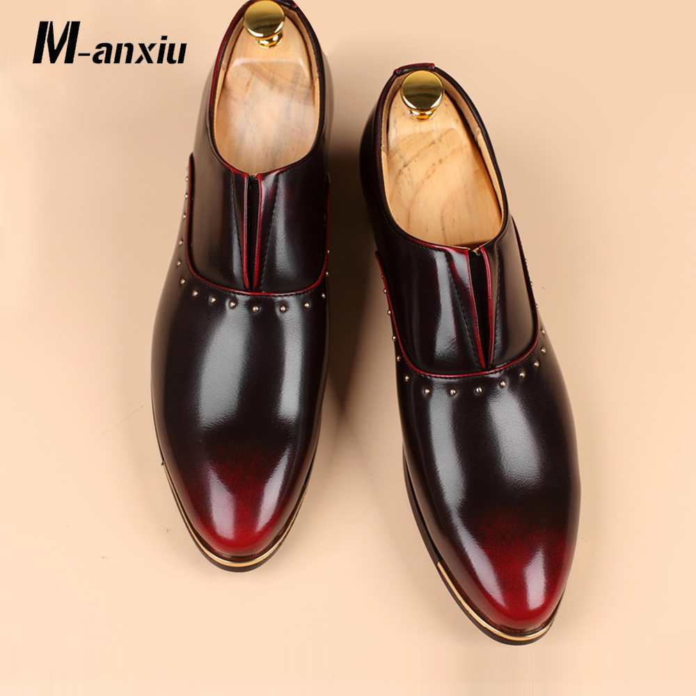 M-anxiu Large Size Fashion Men Shoes Pointed Toe Leather Wedding Casual Dress Male Flats Formal Loafers Moccasins Driving Shoes mycolen men leather casual shoes loafers fashion men shoes moccasins chaussures flats male breathable driving shoes sapatos