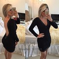 Sexy Little Black Cocktail Dresses 2016 Deep V Neck Long Sleeve Short Mini latest gown design Special Occasion Dress