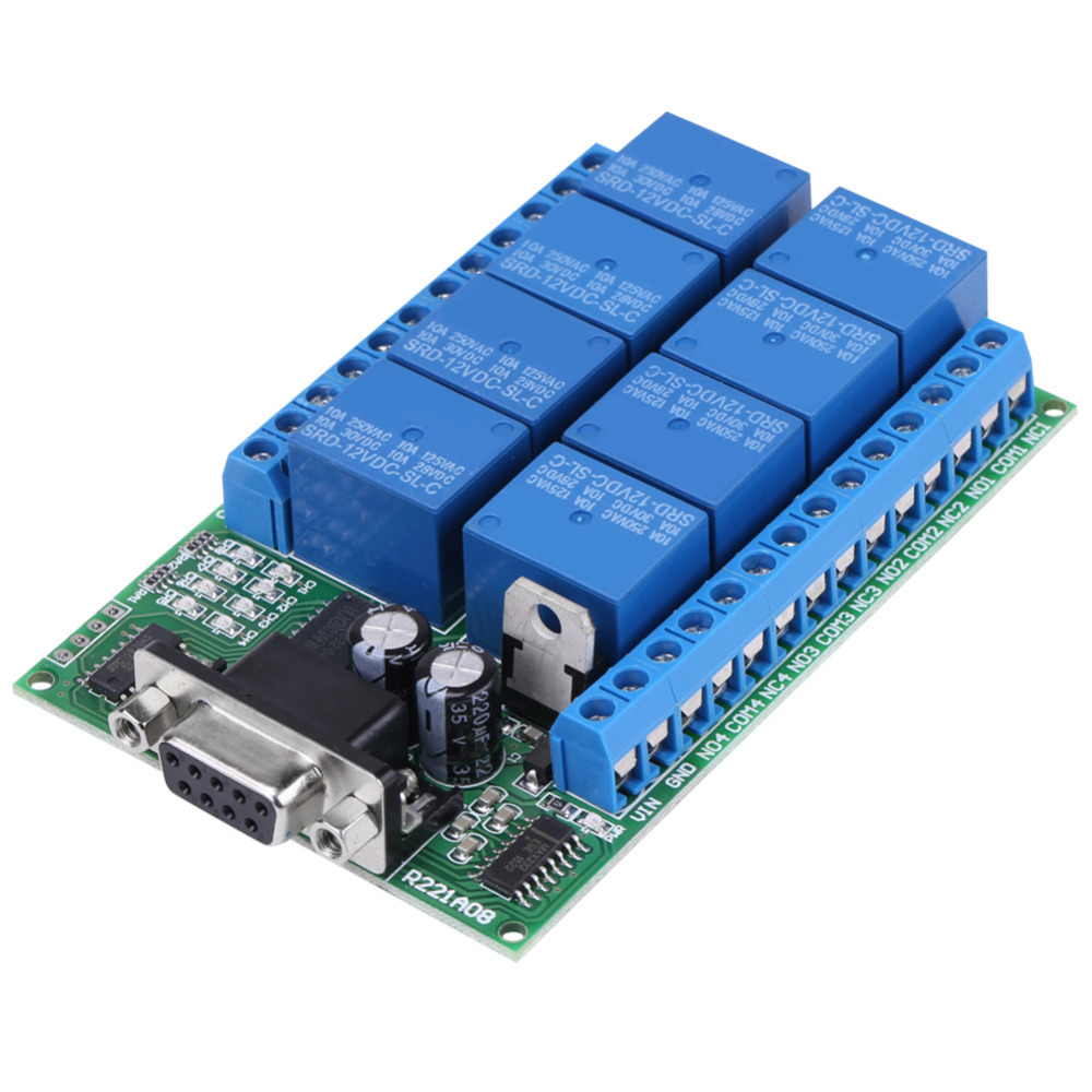 12V 8-Channel DB9 RS 232 Relay Module Remote Control Switch Smart Home DC 12V Power Supply High Quality dc 12v digital temperature display module sensor relay switch control 20 100 centigrade g205m best quality