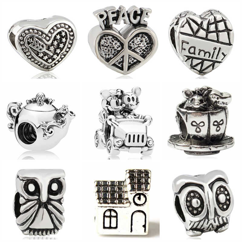 Btuamb Hot Sale Love Heart Owl Mickey Cartoon Alloy Beads Fit Original Pandora Bracelets Bangles Women Making Jewelry Berloque