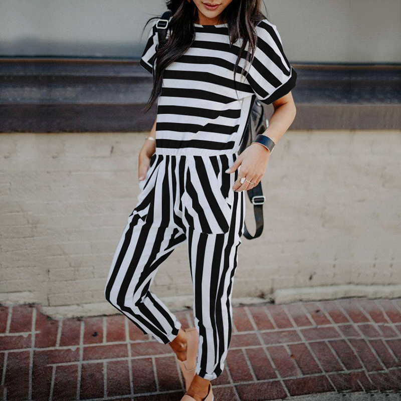 Striped summer playsuit Fashion Womens Casual Short Sleeve Long Pants Stripped Jumpsuit  ...