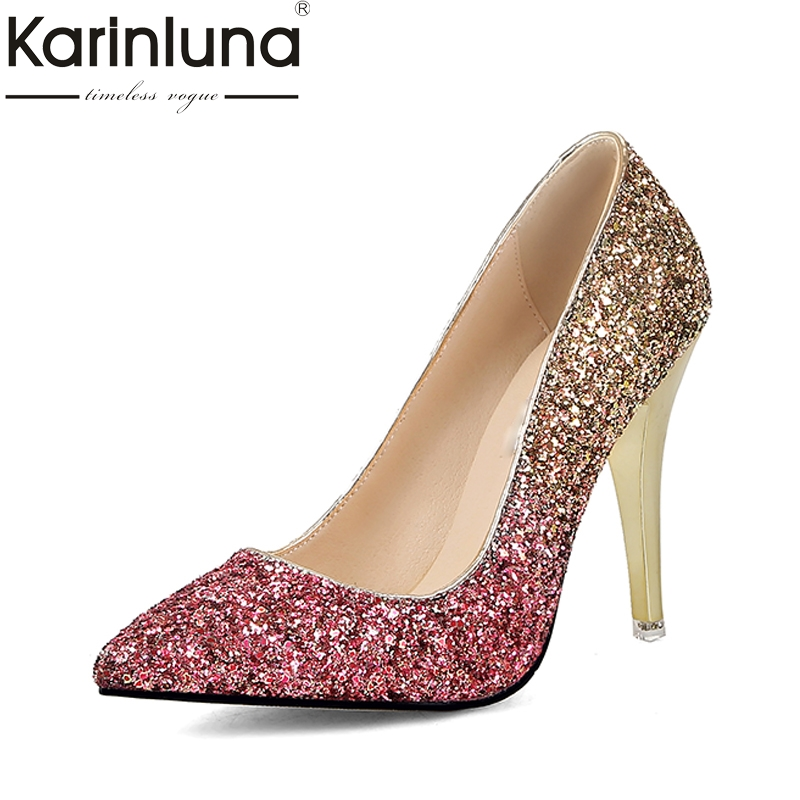 KARINLUNA 2018 Large Sizes 34-43 Pointed Toe Party Woman Shoes Sexy Thin High Heels Slip On Bling Wedding Pumps Shoes Women sexy bling bling glitter high heel pumps women pointed toe metal heels party dress shoes slip on office lady dress shoes