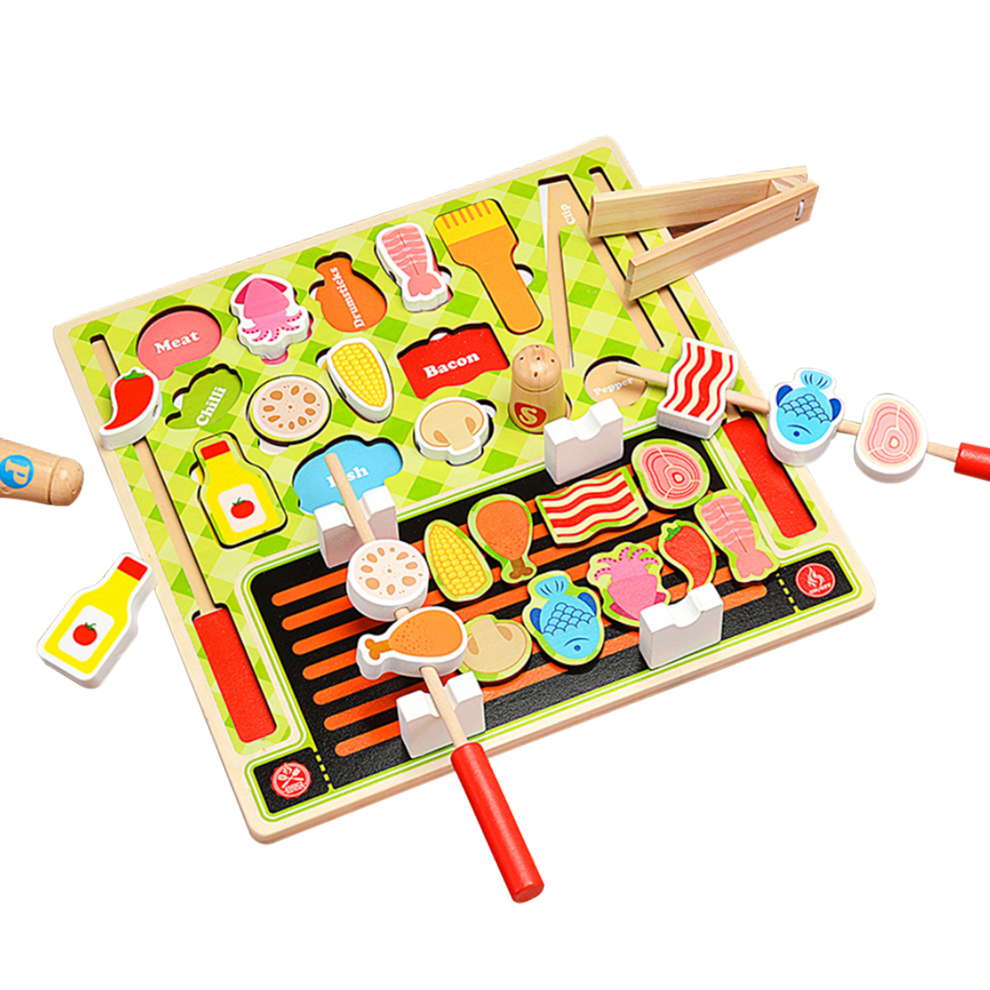 Children Pretend Play Kitchen Toys Wooden Simulation Food Cutting Barbecue Fruit Supermarket Set Kids Toddler Playing Learning