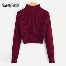 SweatyRocks Solid Stand Collar Crop Sweater Long Sleeve Female Elegant Pullovers Tops 2018 Autumn Women Casual Basic Sweaters